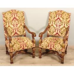 Paire de fauteuils d'apparat style Louis XIV