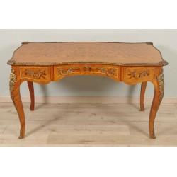 Bureau plat marqueté style Louis XV