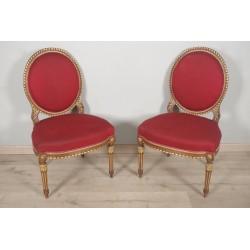 Paire De Chaises Dorées Style Louis XVI