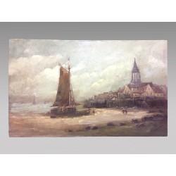 Tableau bord de mer en Bretagne signé Gilbert