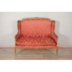 Canapé bois doré style Louis XVI